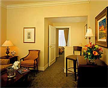 Livingroom in a Guest Suite at the Iberville Suites